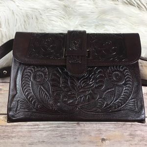Handmade Tooled Leather Satchel Bag